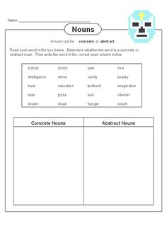 Help to make concrete and abstract nouns less abstract for your child to understand! Concrete And Abstract Nouns, Ch Words, Types Of Nouns, Grammar Practice, English Language, Worksheets, Child, Names, Teaching