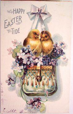 Divided Back Postcard Happy Easter Tide With Chicks Easter Art, Easter Crafts, Vintage Easter, Vintage Holiday, Vintage Cards, Vintage Postcards, Decoupage, Easter Illustration, Easter Greeting Cards