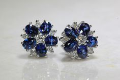 CEYLON BLUE SAPPHIRE DIAMOND STUD EARRINGS IN 14k WHITE GOLD SETTING