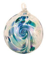 Seattle Washington artist Glass Eye Studio Ornament Blue Hydrangea Feather