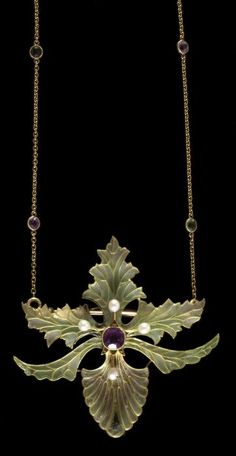 Art Nouveau Plique-à-Jour Enamel, Pearl, Amethyst, and Gold Flower Necklace/Brooch by Georges Fouquet, France