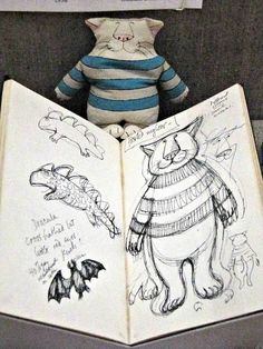 """Taken at the """"Gorey Preserved"""" exhibit at Columbia University.  One of Edward Gorey's sketch books... by Star Cat, via Flickr"""