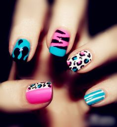 Love the zebra nail with three colors!