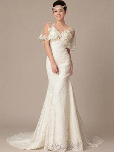 $285.99 Happiness Mermaid Lace V-neck Crystal Wedding Dresses #Cheap #wedding #dresses #