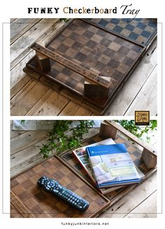 Funky checkerboard (or other game board) tray with vintage yardstick handles, via Funky Junk Interiors