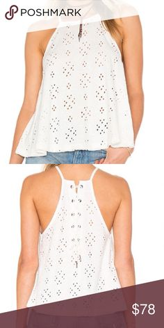Free People Dream Date Eyelet Top Stylish Free People Dream Date Eyelet Top. This cute top is back lace-up tie closure and embroidered eyelet fabric. 100% cotton New with tags. Free People Tops Tank Tops