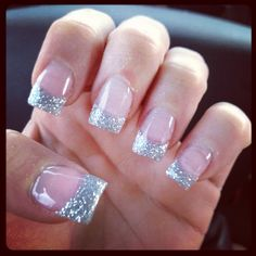 New nails gel glitter! a girl should be two things: classy a Glitter Gel Nails, Gold Nails, Pink Nails, Silver Glitter, French Nail Designs, Gel Nail Designs, Pretty Nail Colors, Pretty Nails, Essence Nail Polish