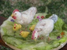 Needle felted chicken's with chicks spring home by Made4uByMagic, $65.00