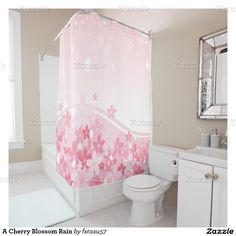 A Cherry Blossom Rain Shower Curtain