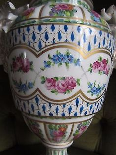 Antique Dresden Porcelain Large Covered Urn Pot Purri Rams Heads Perfect 1 of 2 3 • £350.00