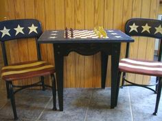 Paint & Recycle, Painted furniture, cabinet doors, signs, Americana kid's game table with old Haywood Wakefield school chairs  , Home Decor Project