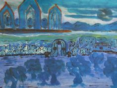 """Blue Habitat"" Painted by Fadi Abu-Deeb"