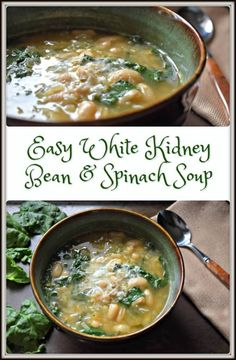 White Kidney Bean and Spinach Soup A piping hot bowl of soup makes everything better. This Easy White Kidney Bean and Spinach Soup recipe is not only good for you, but good-tasting too. Bean Soup Recipes, Healthy Soup Recipes, Vegetarian Recipes, Cream Of Spinach Soup, Kidney Bean Soup, Recipes With Kidney Beans, Recipe For White Kidney Beans, White Bean Soup, White Beans