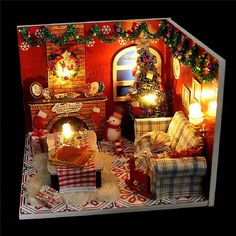 Wooden Dollhouse Furniture Kits LED Light Miniature Christmas Room DIY Dolls House is on sale at discount prices now, buy Wooden Dollhouse Furniture Kits LED Light Miniature Christmas Room DIY Dolls House and be pleasant Mobile. Wooden Dollhouse, Diy Dollhouse, Dollhouse Miniatures, Dollhouse Furniture Kits, Wooden Dolls House Furniture, Led Furniture, Kids Doll House, Christmas Room, Miniature Christmas