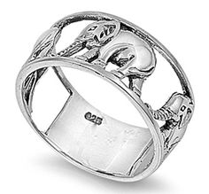 I Love Elephants Ring, Sterling Silver Elephant Ring, Elephant Jewelry, Gift For Her, Size 7, 925 Sterling Silver Ring