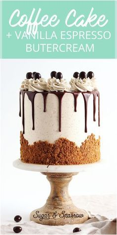 Coffee layer cake with vanilla espresso buttercream crushed Speculoos cookies and chocolate ganach. The post Coffee layer cake with vanilla espresso buttercream crushed Speculoos cookies appeared first on Win Dessert. Drip Cakes, Layer Cake Recipes, Dessert Recipes, 3 Layer Cakes, Cheesecake Recipes, Recipes Dinner, Breakfast Recipes, Mini Cakes, Cupcake Cakes