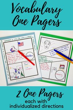 These Vocabulary One Pagers bring fun and creativity to vocabulary studies. There are two One Pager options, each with individualized directions. You can use these One Pagers with any assigned reading… Teaching Vocabulary, Vocabulary Words, Vocabulary Strategies, Vocabulary Ideas, Vocabulary Instruction, Middle School Reading, Middle School Classroom, School Resources, Teacher Resources