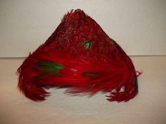 Ladies Vintage Fashion Red Pheasant Peacock Style Feather Hat Unique Rare