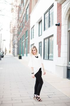 @blondeandambitiousblog mixes classic & trendy for this chic look in Restricted Shoes black Kailani heels