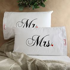 Best idea for the bedroom! I always know what pillow is mine and they match all sets! Good wedding shower gift!