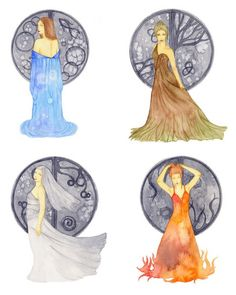 Excluding water, here are all the girl Elements:  Water, Earth, Fire, Air.