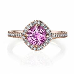 Omi Prive: Pink Sapphire and Diamond Ring Style: RS1250C-PSRD-RG