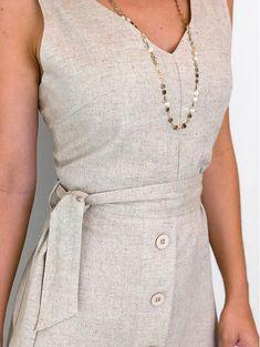 Vestido-Linho-Cordao-Luana Date Night Outfit Summer, Summer Outfits, Casual Work Dresses, Short Dresses, Lovely Dresses, Elegant Dresses, Cool Outfits, Casual Outfits, Linen Dresses