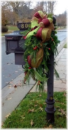Items similar to Beautiful Mailbox Decor/Swag. Customized with exterior grade ornamentation, to last for years to come! Christmas Swags, Rustic Christmas, Christmas Holidays, Christmas Crafts, Southern Christmas, Primitive Christmas, Christmas Christmas, Christmas Mailbox Decorations, Holiday Decor