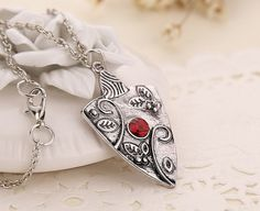 Silver & Almandine Garnet Talisman Necklace inspired by the popular TV series the vampire diaries. Almandine garnet is considered a talisman of protection and unyielding strength, both physically and