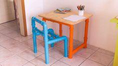 DIY - Mesa e cadeira de PVC  Confira o passo a passo completo em www.youtube.com/diycore