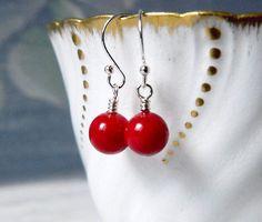 Dainty Red Coral Earrings Dark Red Earrings Red Drops Red