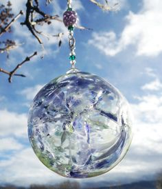 Hand Blown Glass Hanging Ornament Witch Ball by AspenHotGlass, $25.00