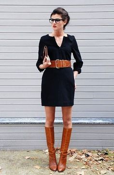 brown tall boots and black dress