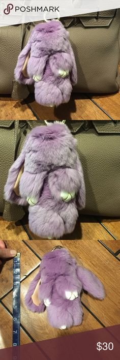 Real fur rabbit for bag or key Real fur and leather Accessories Key & Card Holders