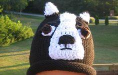 Boston Terrier Machine Knit Hat-cute photo prop. $11.00, via Etsy.