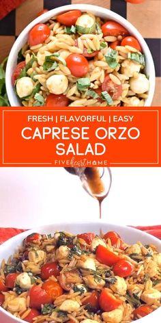 Orzo Pasta Recipes, Pasta Dishes, Summer Pasta Recipes, Veggie Recipes, Cooking Recipes, Healthy Recipes, Balsamic Pasta Salads, Orzo Pasta Salads, Caprese Pasta Salad