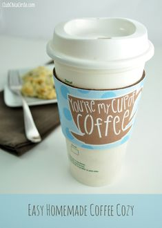 Make your own easy Coffee Cozy Sleeve Gift Idea | Club Chica Circle - where crafty is contagious