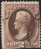 Brown 2-cent U.S. postage stamp picturing Andrew Jackson