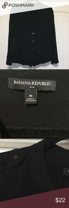 Banana Republic Black Button Up Shirt Banana Republic Rayon Button Up Shirt. No visible flaws Tops Button Down Shirts