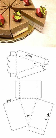 Diy Geschenk Basteln - Caja en forma de rebanadas de patel Descarga la plantilla del sitio we. Paper Gift Box, Paper Gifts, Diy Paper, Paper Boxes, Paper Cake, Diy Gift Box Template, Paper Box Template, Box Templates, Box Template Printable
