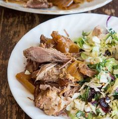 Crockpot Apple Juice Pulled Pork - for everyone looking for a new pulled pork recipe that is lighter and not BBQ tasting! Delicious and no BUN needed! Slow Cooker Pork, Slow Cooker Recipes, Crockpot Recipes, Cooking Recipes, Meat Recipes, Budget Recipes, Juice Recipes, Yummy Recipes, Recipies