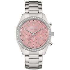 Caravelle New York Silver Womens Silver-Tone And Pink Crystal Watch -... ($135) ❤ liked on Polyvore featuring jewelry, watches, silver, sparkly watches, crystal watches, silver wrist watch, silver watches and caravelle by bulova watches