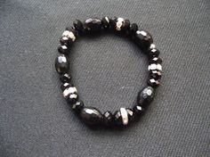 Black Swarovski Crystal Glass Beaded by gabriellesgifts on Etsy, £6.00
