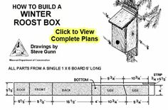 Easy, free winter bird house plans provide a winter bird roost or shelter during the cold months. Build a warm roost box for your feathered friends! Bird House Plans Free, Bird House Kits, Wooden Bird Houses, Bird Houses Diy, Heated Bird Bath, How To Build Abs, Bird Aviary, Cafe House, Bird Boxes