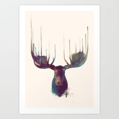 Moose Art Print by Amy Hamilton - $17.00...entry hall or guest room?