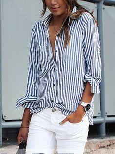 Streifen Schick Lange Hülsen Damen Bluse