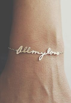 turn your husband's writing into a bracelet