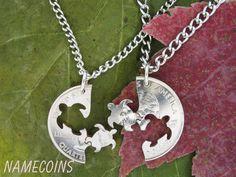 Turtle Interlocking Halves Quarter, hand cut coin on Wanelo