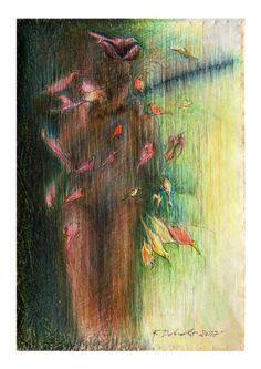 "Saatchi Art Artist Remigiusz Dobrowolski; Painting, ""Big glass - Marcel Duchamp and colorful birds..."" #art"