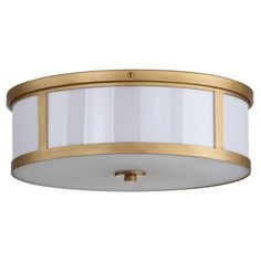 Safavieh Avery Ceiling Drum 2-Light Antique Gold Flushmount-LIT4195A - The Home Depot